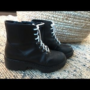 Zara black leather Lace up combat boots